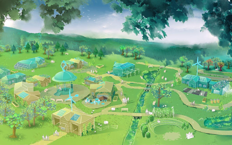 Esquisse de la cité d'Ecotopia